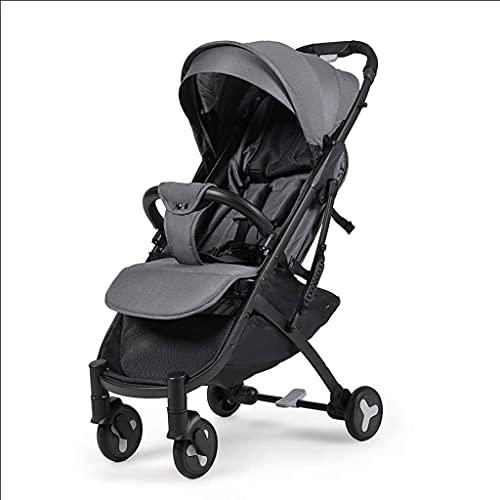 LOXZJYG Cochecito de bebé, cochecitos de Buggy compactos, carruaje de Cochecito portátil Anti-Shock con Marco de Aluminio, arnés de 5 Puntos y Alta Cesta de Almacenamiento (Color : Gris)