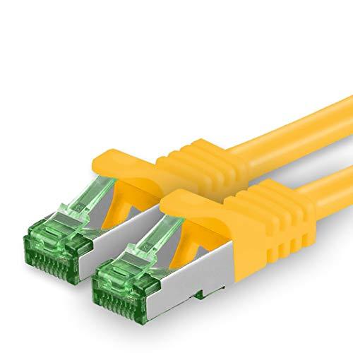 1aTTack.de Cat7 Netzwerkkabel 624068 Cat 7 Netzwerk Kabel 5m Gelb 1 Stück Cat.7 LAN Kabel Rohkabel 10 Gb s SFTP PIMF LSZH Set Patchkabel mit Rj45 Stecker Cat.6a 1 x 5 Meter Gelb