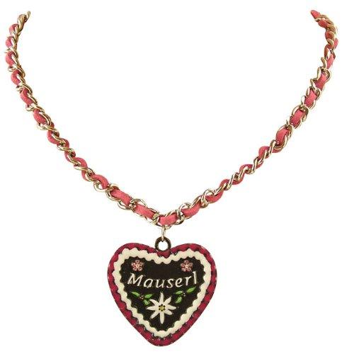 Ois Echt® Trachtenschmuck Lebkuchenherz Trachtenkette mit Veloursband - Herz mit der Aufschrift Mauserl Pink