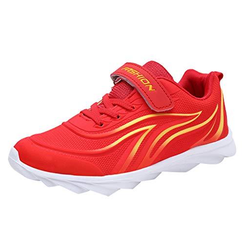 HDUFGJ Unisex - Kinder Sneaker Atmungsaktiv Mesh Laufschuhe Jungen Mädchen Outdoor-Schuhe Bequem Mode Freizeitschuhe Leichtgewicht Faule Schuhe Turnschuhe Fitnessschuhe Flache Schuh27 EU(rot)