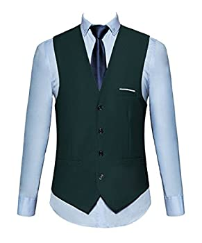 MOGU Mens Waistcoat Causal Suit Vests 18 Colors for Prom Party US Size 40  Label 4XL  DarkGreen