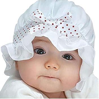 m·kvfa Sunshade Hat for Toddler Newborn Baby Girl Boy Summer Sun Polka Dots Beanie Hat Cap 2-12 Months  White