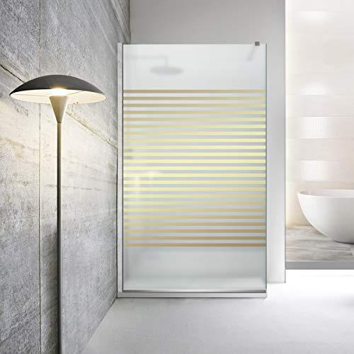 Modern Leroy Timeless - Mampara de ducha (cristal templado de seguridad de 8 mm, revestimiento nano, acero inoxidable SS304), dorado