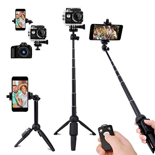 Selfie Stick,40 Inch Extendable Selfie Stick Tripod and Phone Tripod Stand with Rechargeable Wireless Remote,Compatible with iPhone 12 11 Pro Xs X 8 7 6 Plus,Samsung Galaxy S21 S20 S10 S9,Gopro