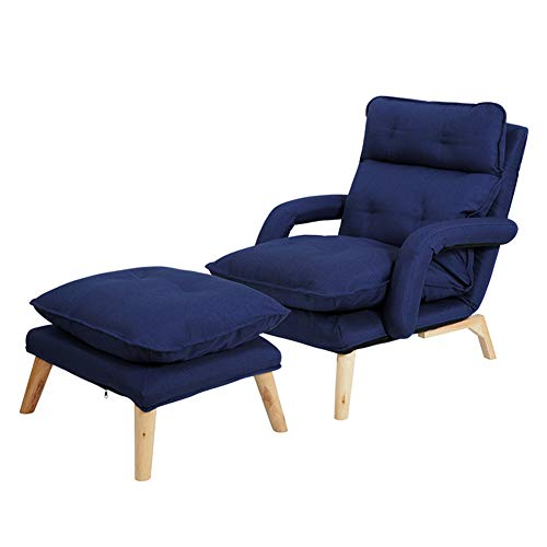 Sofa Lounger Armchair Fabric Folding Adjustment Abnehmbare und waschbare Schlafzimmer Wohnzimmer Ältere Freizeit Lounge Chair Enthält Fußschemel, Navy