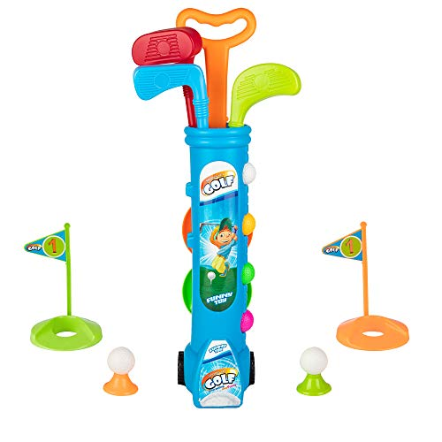Kids Golf Clubs Set, Golf Toy with 1 Golf Cart, 3 Golf Clubs, 2 Practice Holes, 2 Golf Tees & 6 Balls, Early Educational, Outdoors Exercise Toy for Kid Ages 1, 2, 3, 4, 5 Years Old, Boys & Girls