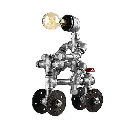 B-D Vintage Sanitär Roboter Tischlampe Schreibtisch Leuchte mit Ventil und Rad Akzent Schalter Industrielle Retro-Beleuchtung Studie Schlafzimmer Steampunk Wasserpfeife Desktop-Glühbirne Silber E27