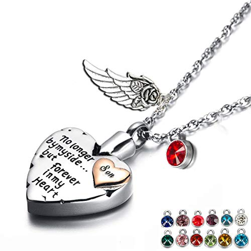 Heart Cremation Urn Necklace for Ashes Angel Wing Jewelry Memorial Pendant and 12 PCS Birthstones No Longer by My Side But Forever in My Heart (Son)