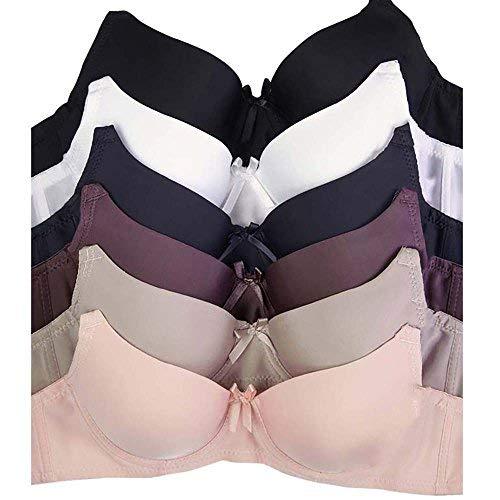 Women's Basic Plain Bras (Packs of 6) - Various Styles (38B, 081)