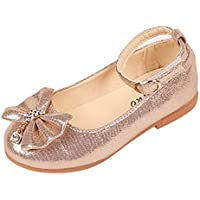 YWLINK Antideslizante Fondo Blando Las NiñAs Arquean Diamantes De ImitacióN Linda Danza Boca Baja Zapatos De Princesa Solo Zapatos Regalo Zapatos Romanos(Oro,28EU)
