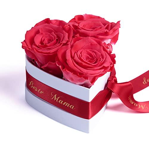 ROSEMARIE SCHULZ Heidelberg Für die Beste Mama der Welt 3 ewige Rosen Box Herz Geschenk zum Muttertag mit Blumen (Korall, 3 Rosen Für die Beste Mama der Welt)