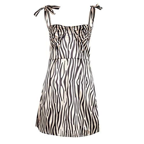FRAUIT dames mouwloze jurk gestreepte zomerjurk druk camisole mini-jurk elegant avondjurk strandjurk - witte sling zomerjurk - zonder rugzijde basic jurken