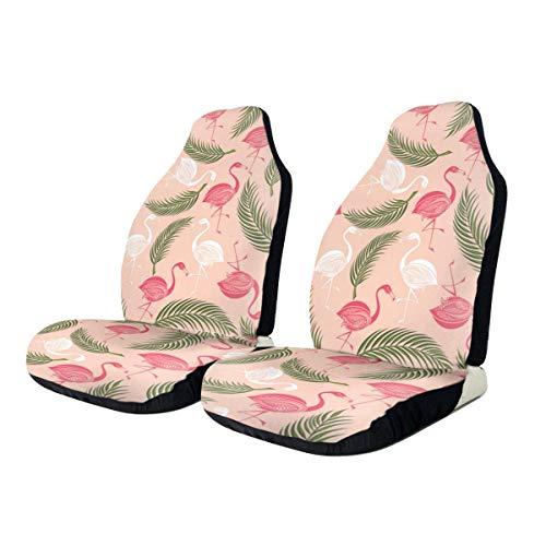 Fundas de asiento para el coche Summer Pink Flamingo Palm Leaves Manta elástica para silla de montar con asiento Universal Fit La mayoría del coche 2PCS 🔥