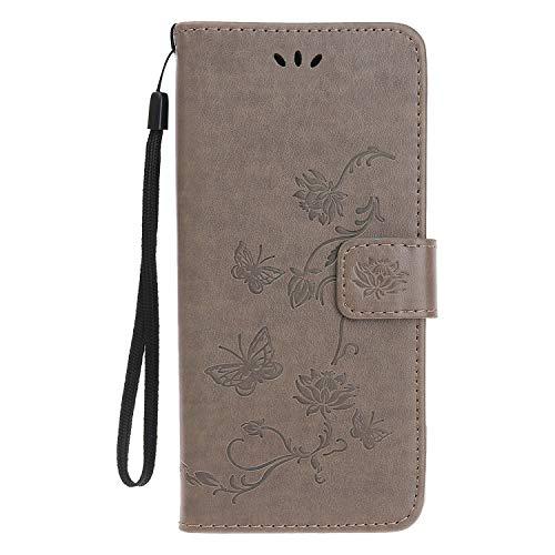 Reevermap Samsung Galaxy A50 Hülle, Handyhülle Tasche Leder Flip Hülle Brieftasche Etui Ständer Book Blume Schmetterling Muster Schutzhülle für Samsung Galaxy A50 Cover - Grau