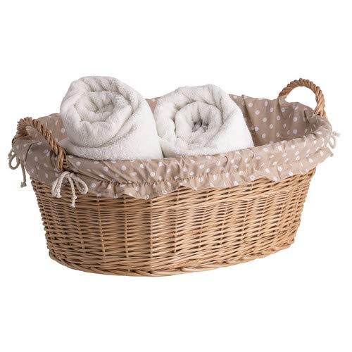 Ovale naturfarbige Weidenschüssel, Wäschekorb aus Weide, Weidenwanne in Naturfarbe, Weidenkorb in Wanneform