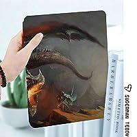 IPad 2/3/4 ケース 超薄型 超軽量 TPU ソフトスマートカバー オートスリープ機能 衝撃吸収 2つ折りスタンドApple iPad 4世代、新iPad 3(3rd Gen)&iPad 2ドラゴン神話アートと戦うファンタジーシーン大胆不敵な騎士
