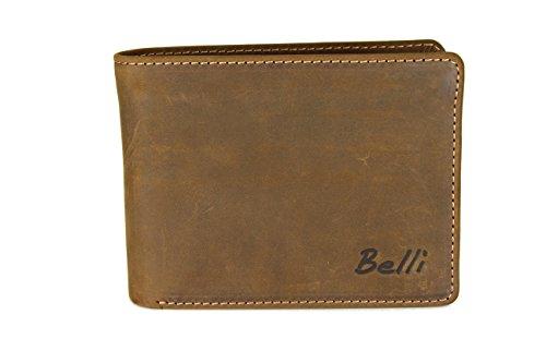 BELLI Portemonnaie Vienna Herren Leder Geldbörse Portmonee Geldbeutel aus Echtleder in braun Vintage - 12x9x2,5cm (B x H x T)