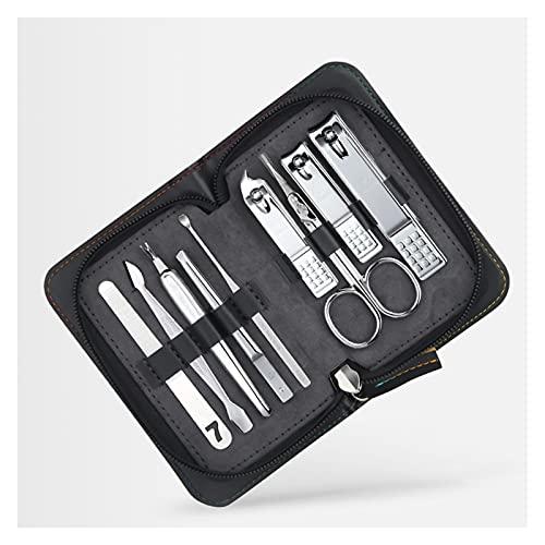 Clipper de uñas Set de manicura 9 en 1 Kit de aseo profesional de acero inoxidable Kit de clavos para hombre Kit de pedicura Herramientas de cuidado de uñas con estuche portátil Conjunto de pedicuras