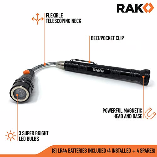 RAK Magnetic Pickup Tool with LED Lights - Telescoping Magnet Pick Up Gadget Tool for Men, DIY Handyman, Father/Dad, Husband, Boyfriend, Him, Women