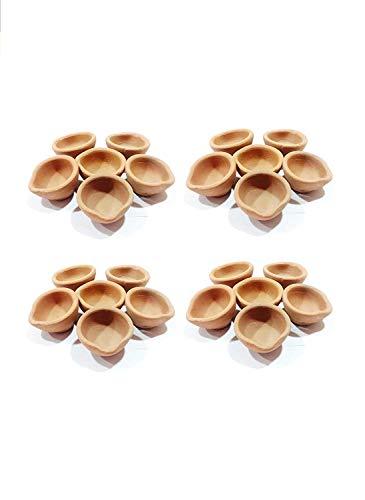 JX2 Clay Diya Traditionelle indische Handarbeit mit Erdöllampen/Diyas/Deepak für Geschenke/Dekorationen/Festivals/Tempeln + gratis Dochte, 24 Stück