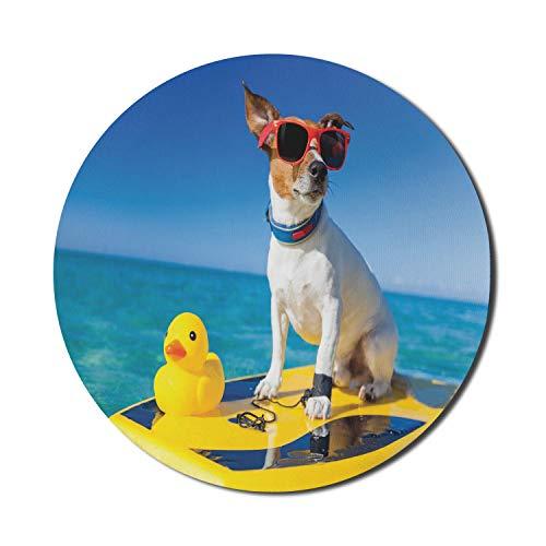 Dickes Gummi-Enten-Mauspad für Computer, Hundesonnenbrille auf Surfbrett bei Ocean Shore Fun Sommersaison-Thema, rundes rutschfestes dickes Gummi-modernes Gaming-Mousepad, 8 'rund, blau-gelb