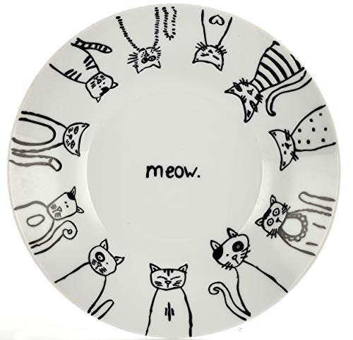 Leadex Porcelain 8-Inch Salad Plates,10.5-Inch Dinner Plate,18 Ounces Pasta Plates, Hand-drawn Cartoon Cat Pattern,Best Gift For Ailurophile (10.5-Inch Dinner Plate)