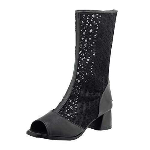MISSUIT Damen Blockabsatz Sommerstiefeletten mit Lochmuster Peeptoe Sommerstiefel Reißverschluss Schuhe(Schwarz,36)