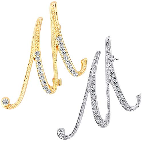 ETHOON 2 Pcs Letter Brooch Pins Initial Rhinestone Brooch for Women Corsage Crafts Gold Silver M
