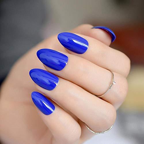 Couvrir les conseils pour les ongles Sharp False Nails Glossy Deep Blue Full Nails Kit de haute qualité 24 pièces