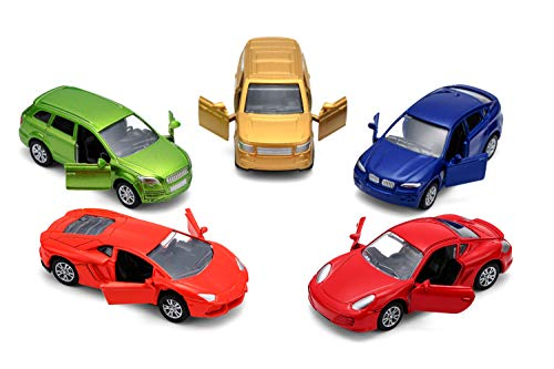 Cars Toys Set of 5 Pull Back Car,Openable Doors Diecast Cars Gift Pack for 3-6 Year Old Boys (Racing Cars)