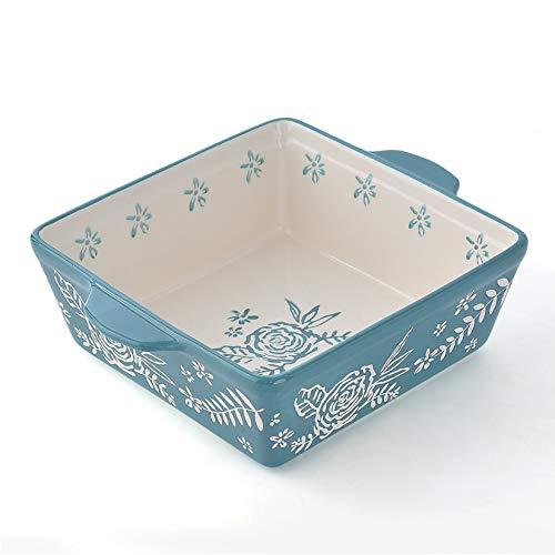 KINGSBULL HOME Baking Dish 8x8 Baking Pan Ceramic Brownie Pan Casserole Dish Handpainted Bakeware Sets Lasagna Pan