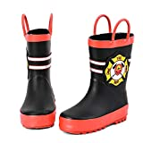 ALEADER Kids Waterproof Rubber Rain Boots for Girls, Boys & Toddlers with Fun Prints & Handles Black Size: 6 Toddler