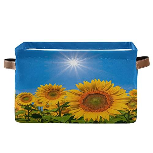 ECHOBU Sunshine - Papelera de almacenamiento con asa plegable de lona para dormitorio, hogar, oficina, armario, ropa, juguetes, 2 unidades