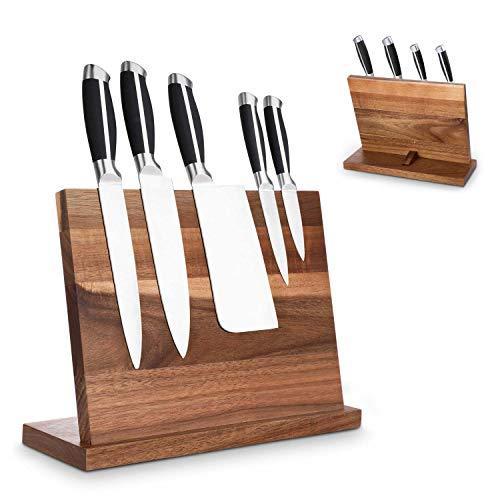 iKINLO Messerblock magnetisch Messerhalter Holz Messerbrett unbestückte Messerblöcke aus Akazieholz Messerschutz Block Küche Aufbewahrung doppelsetiger Magnet