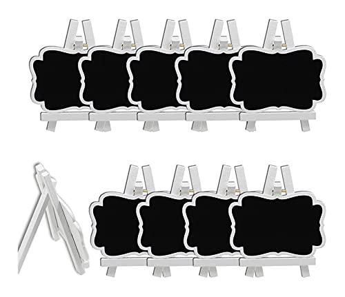 LIXBD Mini pizarras de menú para restaurante, mesa de boda, tarjetas de lugar, 10 piezas (color blanco)