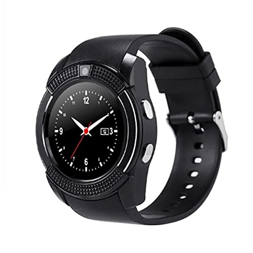 Greatangle-UK V8 Smart Wireless Watch Smartwatch Reloj de Pulsera con Pantalla táctil con cámara Ranura para Tarjeta SIM Reloj Inteligente a Prueba de Agua Negro