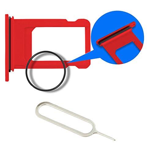 MMOBIEL SIM Karte Schlitten Slot kompatibel mit iPhone XR (Rot) inkl. SIM Pin