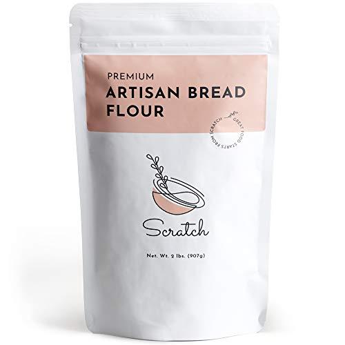 Scratch Premium Artisan Bread Flour - Unbleached Bread Flour for Premium Artisan Recipes and Bread Machines (2 LB)