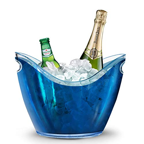 Yobansa 4L Portaghiaccio,Secchio di Ghiaccio,Secchiello Ghiaccio,Secchiello in Acrilico per Bottiglie di Vino/Spumante/Champagne e Ghiaccio (Blue)