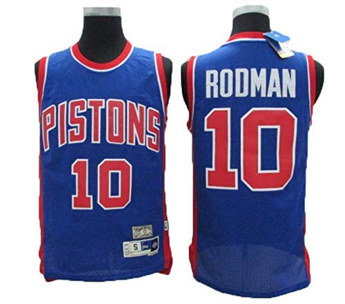 BXWA-Sports Herren Basketball Trikots # 10 Rodman Pistons Unisex Atmungsaktiv Abriebfest Stickerei Basketball Uniform Fitness Weste Sporthemd,XL(185cm/85~95kg)
