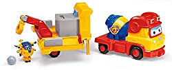 Donnie's Build-It Buddies Team is featured in Season 3 of Super Wings 3-in-1 play: Crane extends and pivots- Snap-on dump truck with cement mixer that fires cement boulder. Snap-on dump truck has workable station and space for Transform-a-Bot figure ...