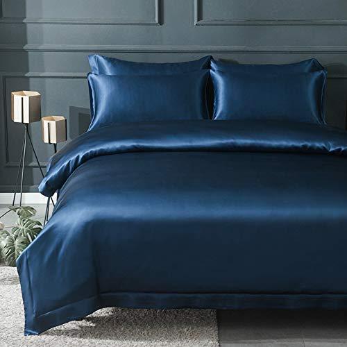 Orose 4Pcs 22MM Silk Sheets Set Queen Size 100% Mulberry Silk Bed Set,Seamless,Thick,Deep Pocket-Navy Blue