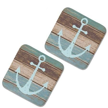 2 cojines cuadrados sillas de cocina cojines de silla de jardín de felpa40x40-nautical ancla madera resistida temática costera