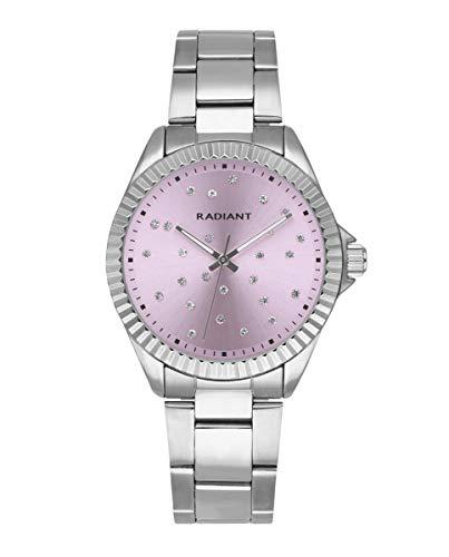 Reloj analógico para Mujer de Radiant. Colección Constellation. Reloj Plateado con Brazalete y Esfera Rosa con pedrería. Bisel dentado. 3ATM. 36mm. Referencia RA547203.