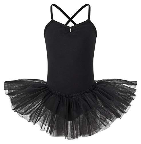 tanzmuster ® Ballettkleid Mädchen Tutu - Kim- aus weichem Baumwollstoff mit Glitzersteinen Ballett Trikot Ballettanzug in schwarz, Größe 164/170