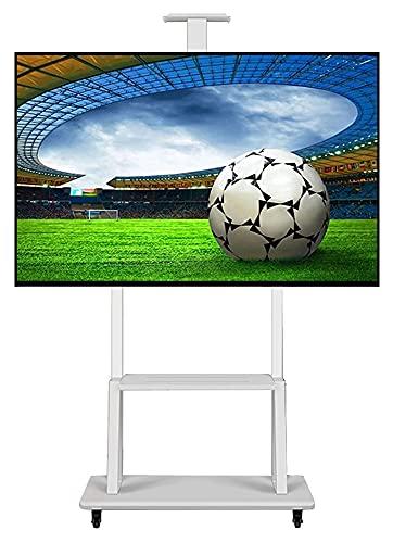 TabloKanvas Carrito de Soporte de TV móvil con Ruedas y 3 estantes Rolling TV Trolley Altura Ajustable para Sala de Juntas (Color : White)