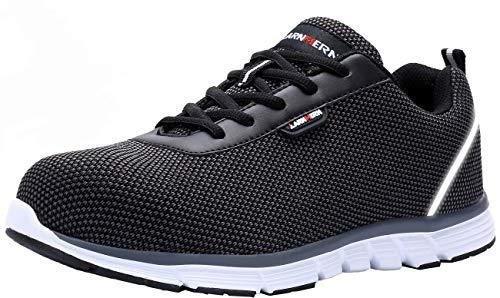 Zapatillas de Seguridad Hombre,LM170130 S1 SRC Zapatos de Trabajo Mujer con Punta de Acero Ultra Liviano Reflectivo Transpirable 45 EU,SRC Negro