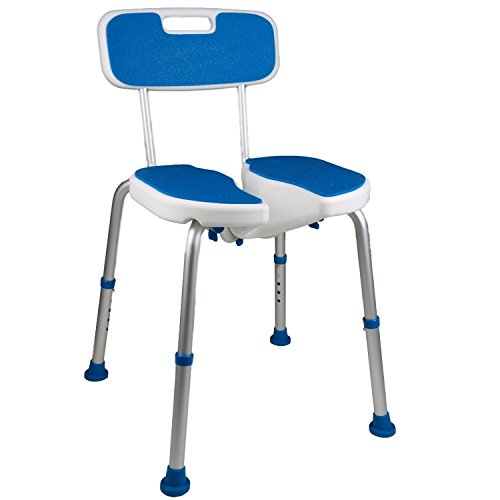 PCP Shower Safety Seat, Cutout for Easy Cleaning, Non-Slip Bath Support Recovery Chair with Backrest, White/Blue, Foam Padded