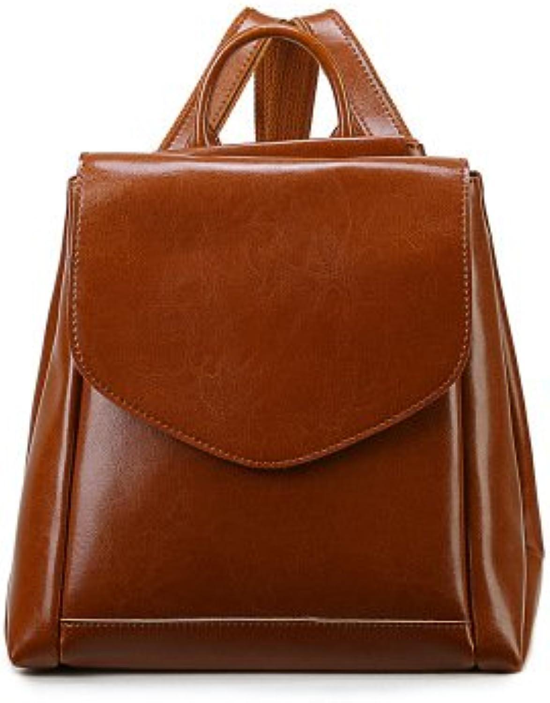 ZHANGOR Handgefertigte Damen Leder Rucksack, Mode Reisetasche Schultasche Schultertasche Casual Rucksack,Brown