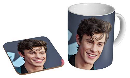Shawn Mendes Smile Keramik-Kaffeetasse + Untersetzer, Geschenk-Set